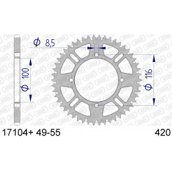 Couronne Afam Alu ultra-light anti-boue pour Kawasaki KX85 01-15