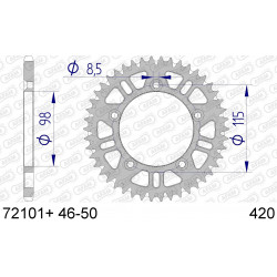 Couronne Afam Alu ultra-light anti-boue pour KTM SX65 01-15