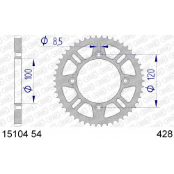 Couronne Afam Alu ultra-light pour Yamaha YZ80 93-01