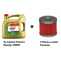 Pack 4L d'huile Castrol Power 1 Racing 10W-50 + 3 Filtres a huile offert
