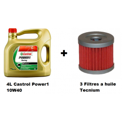 Pack 4L d'huile Castrol Power 1 10W-40 + 3 Filtres a huile offert