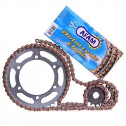Kit chaine Afam Alu anti-boue pour Honda CR85R petites roues 03-05