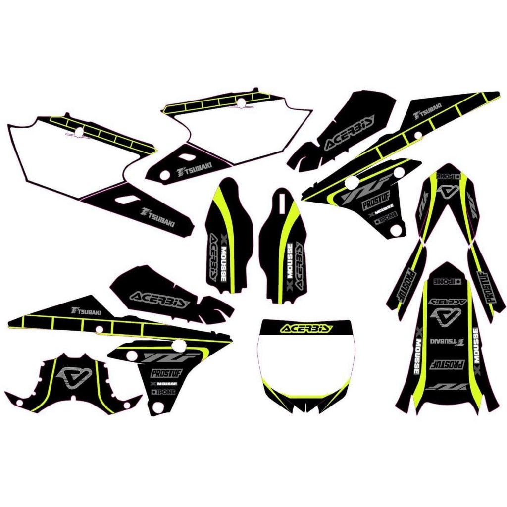 kit d co fluo pour yamaha yz250f 14 18 pi ces d tach es moto cross mud riders. Black Bedroom Furniture Sets. Home Design Ideas