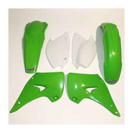 kit plastique ufo plast pour kawasaki kx125 250 05 08 pi ces d tach es moto cross mud riders. Black Bedroom Furniture Sets. Home Design Ideas