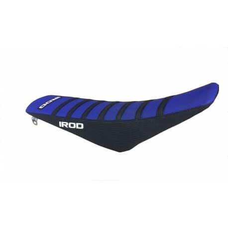 Housse de selle Irod bleue à bandes noires pour Yamaha YZ65 18-19