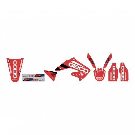 Kit déco Réplica Team Geico pour Honda CR125R/250R 02-07 (Plastiques Polisport restylés)