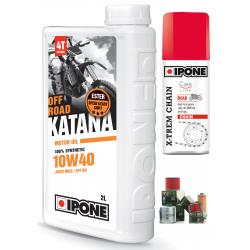 2L d'huile Ipone Katana 100% Synthèse 10W40 + 1 Filtre à huile offert + 100ml graisse chaine offerte