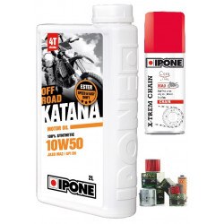 Pack 2L d'huile Ipone Katana 100% Synthèse 10W50 + 1 Filtre à huile offert + 100ml graisse chaine offerte