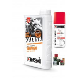 Pack 2L d'huile Ipone Katana 100% Synthèse 10W60 + 1 Filtre à huile offert + 100ml graisse chaine offerte